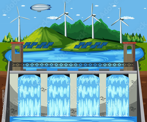 Deurstickers Kids Natural Green Power Plant Scene
