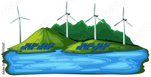 Deurstickers Kids Natural Wind Power on White Background
