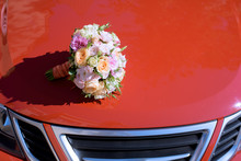 Beautiful Wedding Colorful Bouquet And Car For Bride