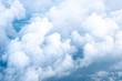 Leinwandbild Motiv Big Blue sky and Cloud Top view from airplane window,Nature background.