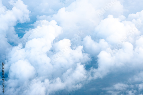 Foto op Canvas Hemel Big Blue sky and Cloud Top view from airplane window,Nature background.