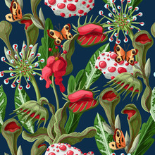 Seamless Pattern With Plant Pr...