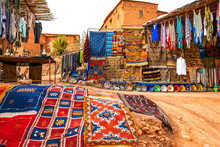 Souvenir Shop In The Open Air In Kasbah Ait Ben Haddou Near Ouarzazate In The Atlas Mountains Of Morocco. Artistic Picture. Beauty World.