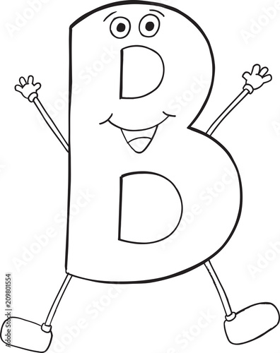 Poster Cartoon draw Cute Happy Letter B Vector Illustration Art
