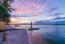 Noosa River Queensland Australia At Sunset With A Vibrant Sky
