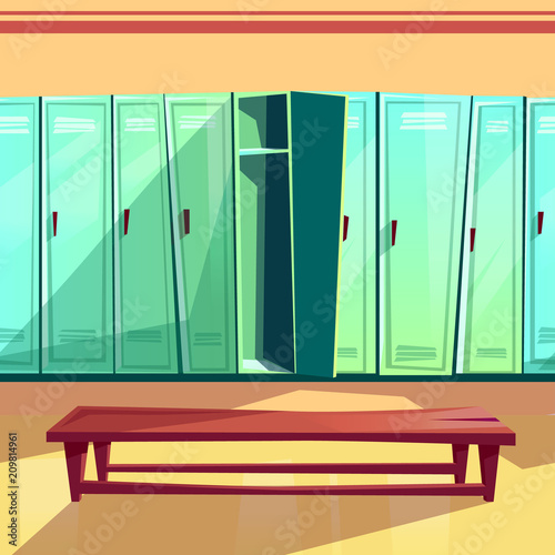 Locker Room Vector Illustration Of Seamless Gym Or School Sport Changing Room Cartoon Background Of Blue Row Of Lockers With Wooden Bench For Parallax Or Computer Games Pattern Template Buy This