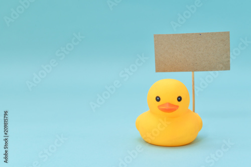 Fototapeta  Feedback concept, rubber ducks are holding blank signboard