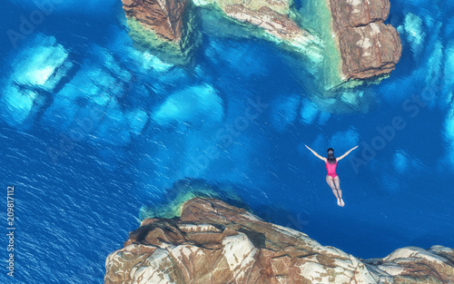 Women jumping off rocks into ocean Wallpaper Mural