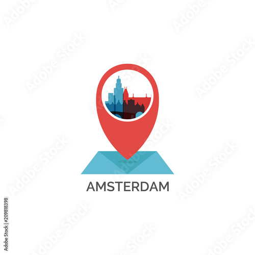 Photo Netherlands Amsterdam map pin point geolocation modern skyline shape vector logo