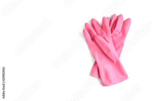 Fotografia, Obraz  Pink rubber gloves isolated on white background.