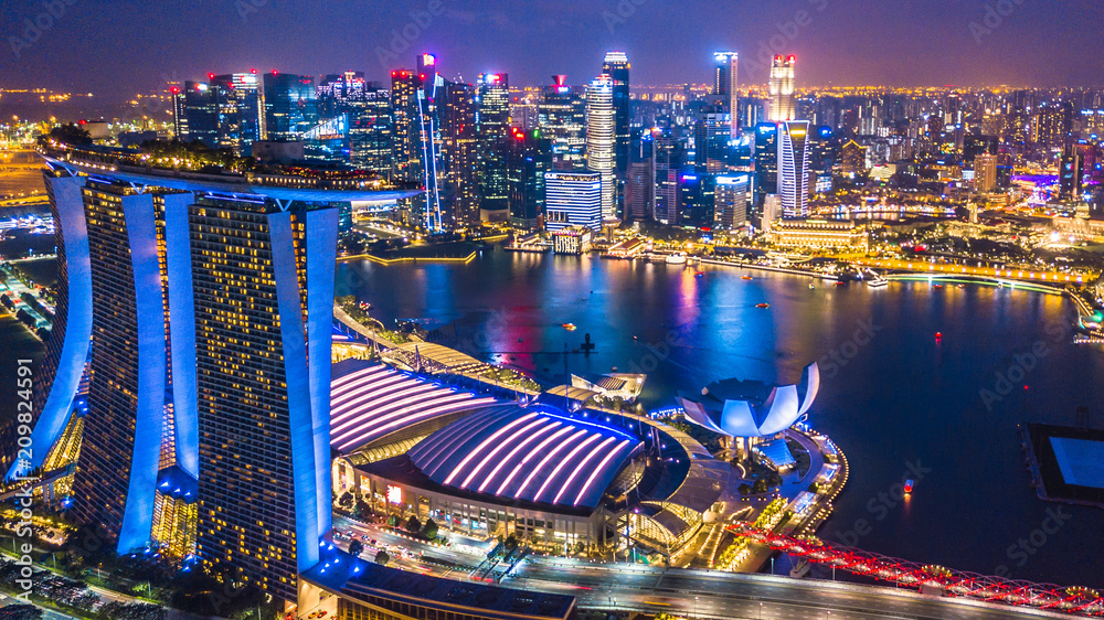 Aerial view Singapore city skyline, Most beautiful skyscraper and skyline architecture in Asia.