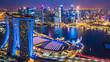Leinwanddruck Bild - Aerial top view Singapore city skyline.