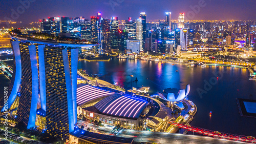 Aerial top view Singapore city skyline.