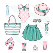 A Set Of Stylish Summer Clothes And Accessories. Skirt, Swimsuit, Shoes, Hat, Sunblock, Beach Bag And Sunglasses, Perfume And Lipstick. Vector Illustration, Fashion And Style. Vintage And Retro.