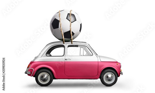 Poland flag on car delivering soccer or football ball isolated on white background