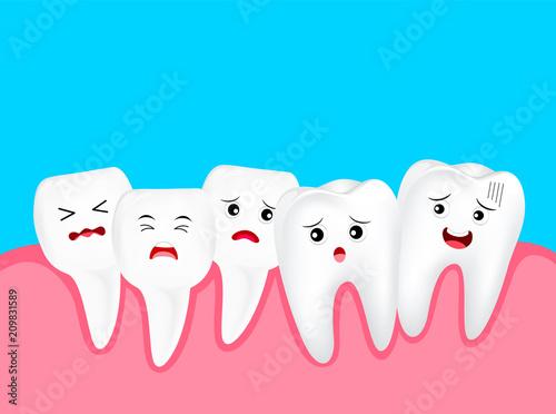 Cuadros en Lienzo Crowding tooth, cute cartoon character