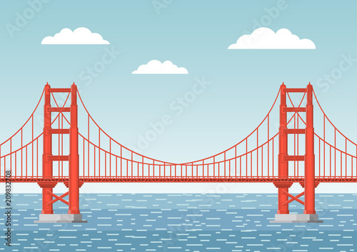 Fotografía Vector illustration. Golden Gate Bridge. Flat style.