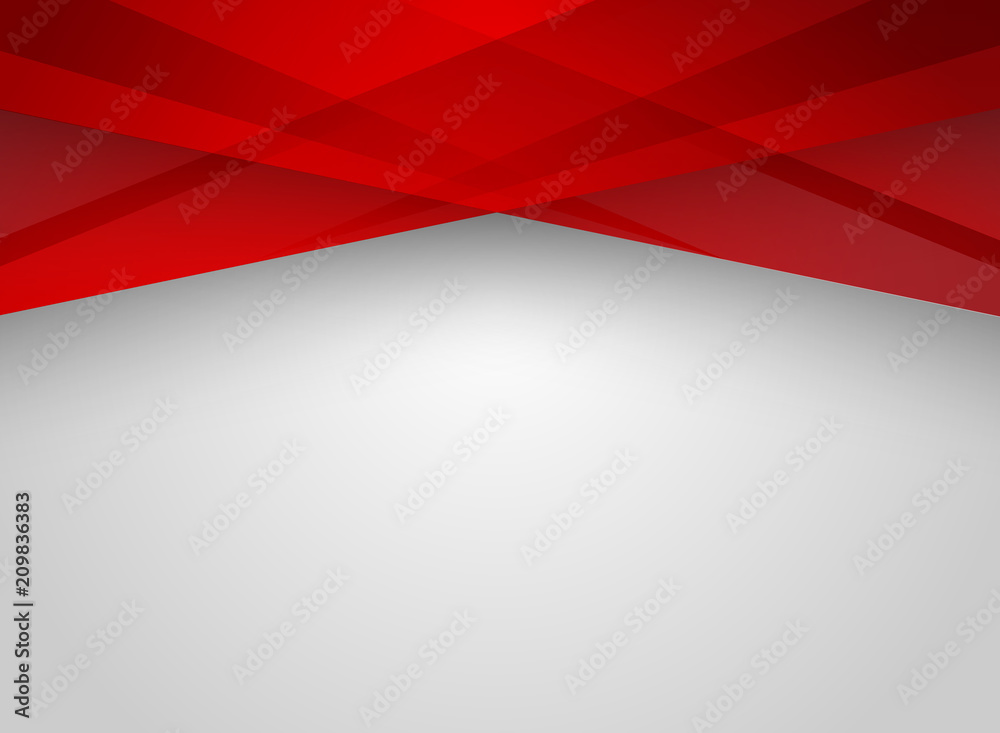 Fototapeta Abstract technology geometric red color shiny motion background.