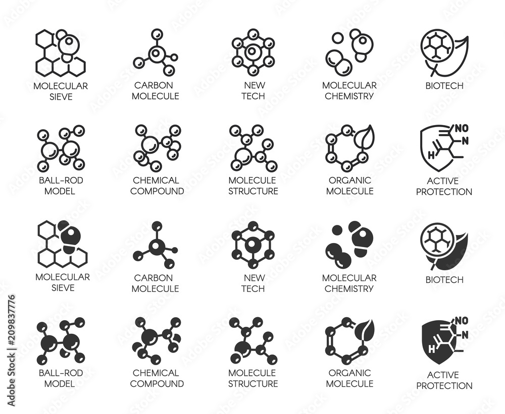 Fototapeta Set of molecule model buttons. Collection icons in line and glyph designs for scientific, chemistry, physical, medical, educational projects. Outline and black flat logos. Vector illustration isolated