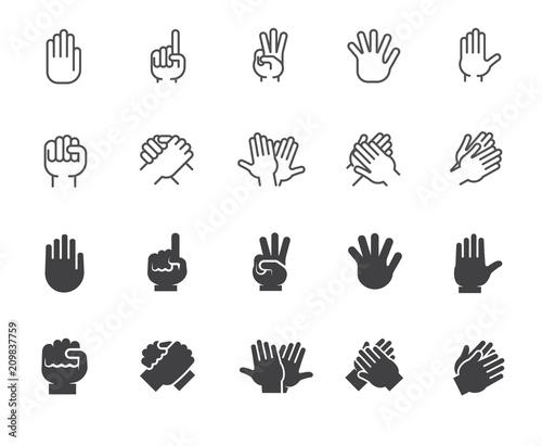 Set of hands gesticulation buttons Fototapet