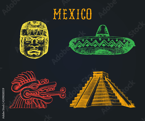 Drawn Set Of Famous Mexican Attractions Vector Illustrations Of