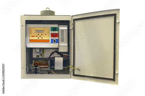Photo electric control cabinet with an open door isolated on a white background