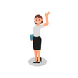 Business woman holding folder and waving by hand. Happy office worker. Young girl in formal clothes. Flat vector design