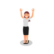 Businesswoman with happy face expression. Young girl standing with hands up. Joyful office worker in formal outfit. Flat vector design