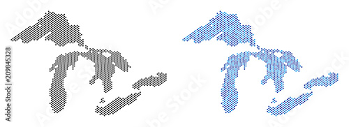 Fotografie, Tablou  Pixelated Great Lakes map variants