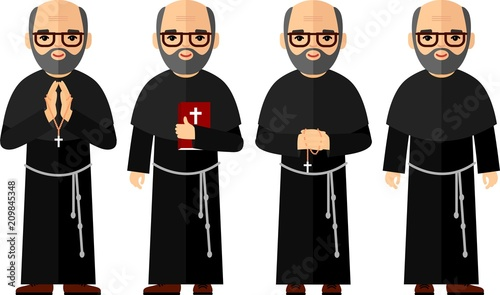 Canvas Print Set of different a religious people, priest and nun in colorful flat style