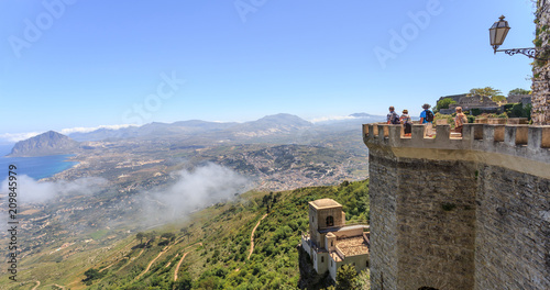 Vászonkép Erice in Sicily, beautifully located 750 m above sea level observation deck in m
