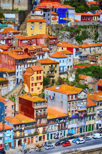 Porto, Portugal old town Ribeira aerial view with colorful traditional houses Wall mural