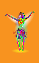 Multicolored Abstraction With A Dancing Girl, Colorful Woman Dancing. Vector Orange Background