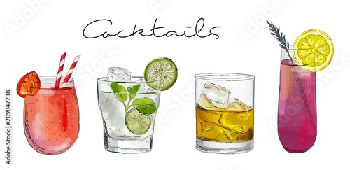 Fotografia Hand drawn illustration of set of cocktails.