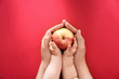 Leinwanddruck Bild - Young woman and little child holding apple on color background, top view. Healthy diet