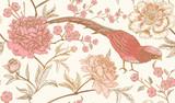 Wzór z egzotycznych ptaków bażanty i kwiaty piwonii. - 209849710