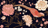 Wzór z egzotycznych ptaków bażanty i kwiaty piwonii. - 209849745
