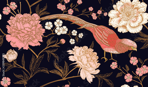 Seamless pattern with exotic bird pheasants and peony flowers. Fototapet