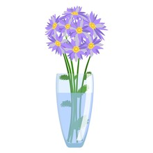 Glass Vase With Flowers Vector...