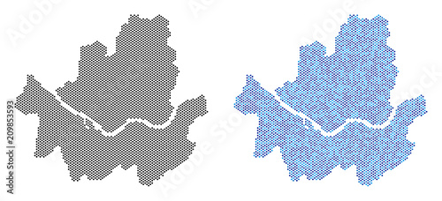 Dotted Seoul city map version Wallpaper Mural