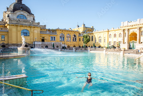 Woman relaxing at the famous Szechenyi thermal bathes in Budapest, Hungary