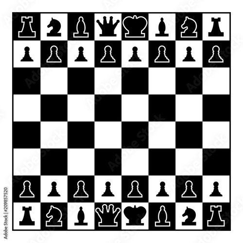 Tableau sur Toile Chessboard and chess pieces line figures icon black color illustration flat styl