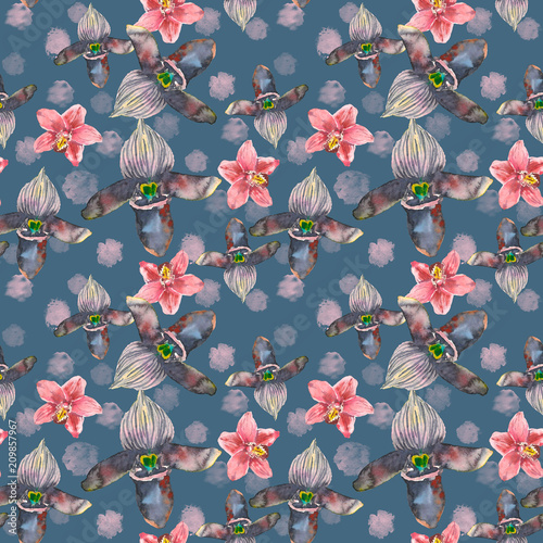 tropikalny-wzor-z-rozowe-kwiaty-orchidei-zwrotnik-kwiecista-tapeta-odizolowywajaca-na-blekitnym-tle-egzotyczny-nadruk-tekstylny