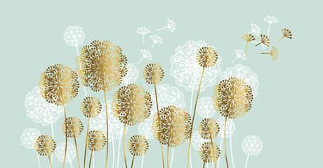 Panel Szklany Dmuchawce Abstract white and gold summer dandelion motif