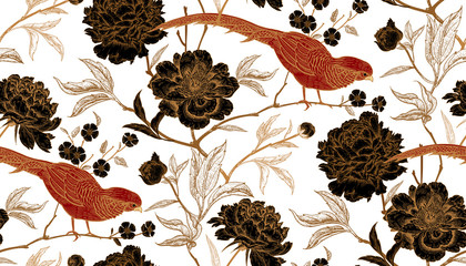 FototapetaSeamless pattern with exotic bird pheasants and peony flowers.