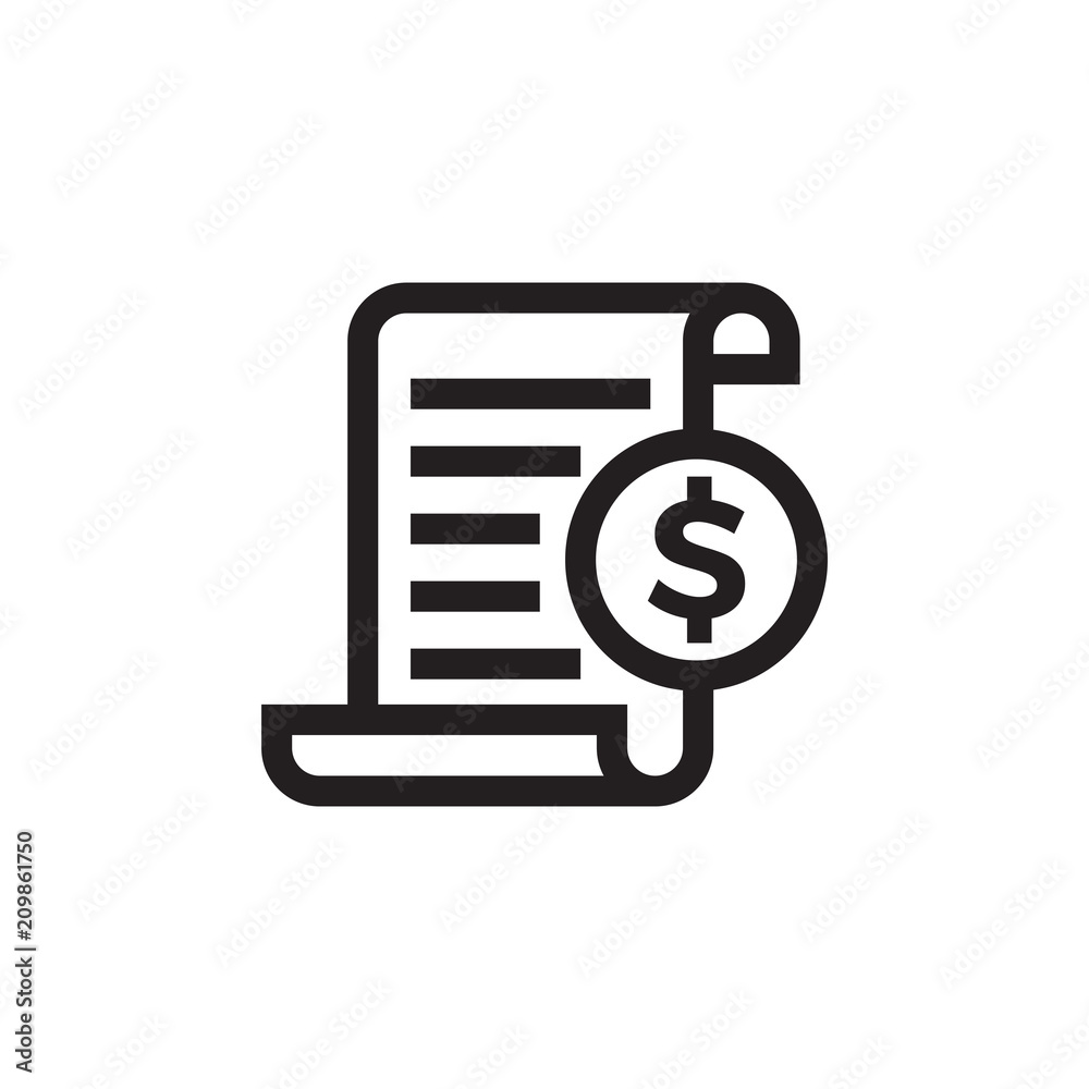 Fototapeta Invoice bill document vector line icon