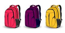 Set Of Multi-colored School Ba...