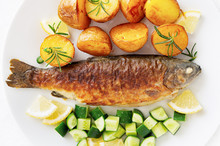 Fried Trout With Young Potatoe...