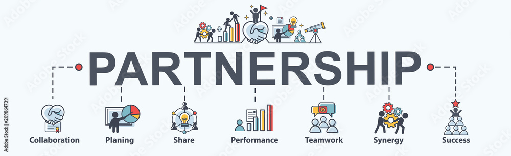 Fototapeta Partnership banner web icon for business consult, collabarate, teamwork, shares idea, performance, brainstorm and success. Minimal vector infographic.