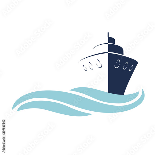 Stylized Vessel, Ship with Waves - Vector Illustration on White Background